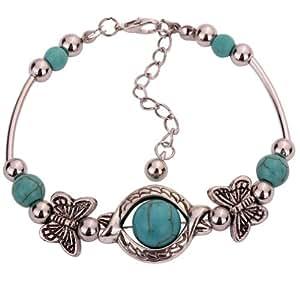 Yazilind Vintage Tibetan Silver Rimous Green Turquoise Inlay Butterfly Bead Bangle Bracelet