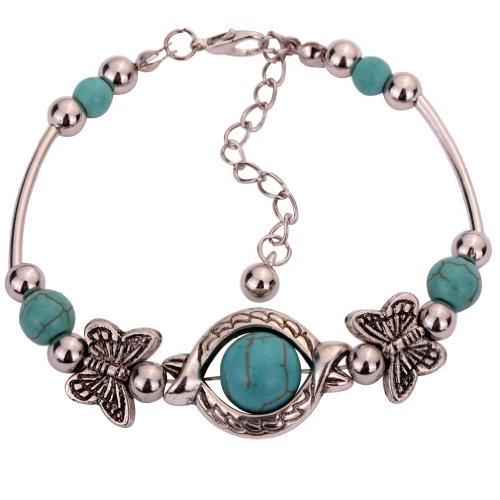 Yazilind Tibetan Silver Rimous Green Turquoise Inlay Butterfly Bead Bangle Bracelet
