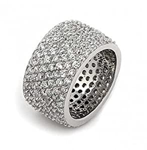 Bling Jewelry Sterling Silver Pave CZ Wide Band Cocktail Ring