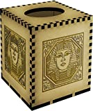 Square 'Egyptian Square Motif' Engraved Wooden Tissue Box Cover (TB00009739)