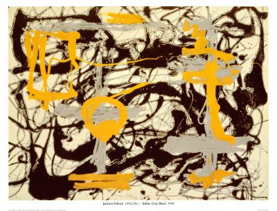 Yellow, Grey, Black Art by Jackson Pollock