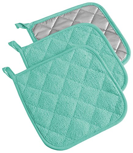 DII 100% Cotton, Machine Washable, Heat Resistant, Everyday Kitchen Basic, Terry Pot Holder, 7 x 7