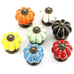 9 COLORS Ceramic Handle Pull Knobs Cabinet Pumpkin Door Cupboard Drawer Locker from buytra