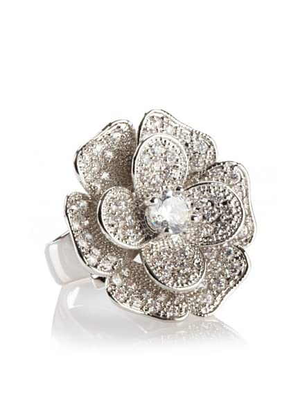 CZ by Kenneth Jay Lane Floral Detail Ring, Silver, Size 6