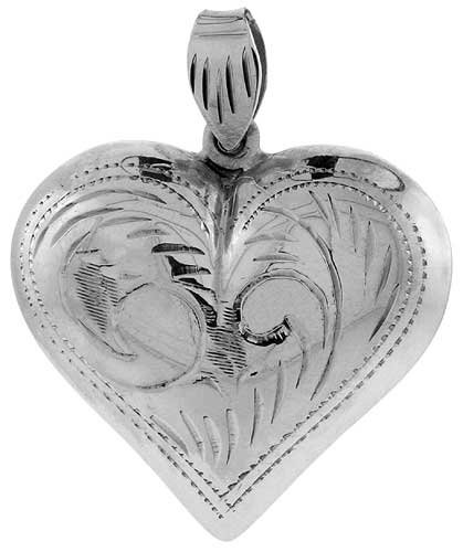 Sterling Silver Hand Engraved Very Large 1 1/4 Hollow Puffed Heart
