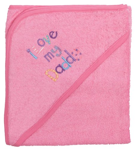 "Extra Large 40""x30"" Absorbent Hooded Towel, I Love My Daddy (Medium Pink), Frenchie Mini Couture"
