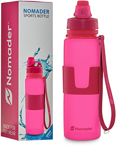 Nomader BPA Free Collapsible Sports Water Bottle - Foldable with Reusable Leak Proof Twist Cap for Gym Travel Hiking Camping and Outdoors - 22 Ounce (Pink) (Water Bottle Boil compare prices)