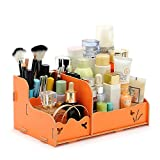 T-Queen DIY Wooden Struction Multi-function Makeup Brush and Makeup Cosmetic Jewelry Storage Box Organizer Caddy (Orange)
