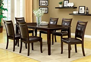 Furniture of America Carlson Dining Table with 18-Inch Expandable Leaf, Dark Cherry Finish
