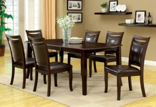 Furniture of America Carlson 7-Piece Dining Table Set with 18-Inch Expandable Leaf, Dark Cherry (Cherry Dining Room Table compare prices)