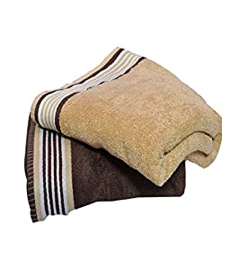 Trident his and her cotton 2 pack bath towels golden haze english wood home - Haze her shower ...