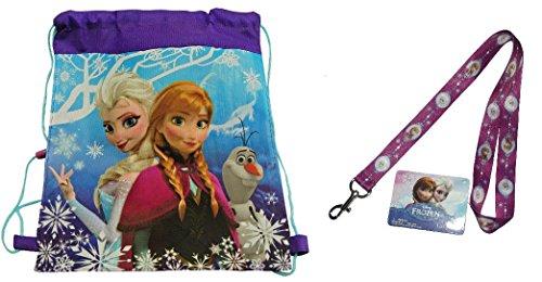 "Disney Frozen Non Woven Nylon Sling Bag 14"" X 11"" and Frozen Lanyard - 1"