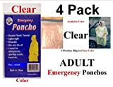 4 PK CLEAR EMERGENCY HOODED RAIN PONCHO -W SIS EMERGENCY POUCH