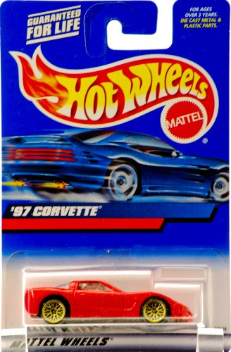 2000 - Mattel - Hot Wheels - '97 Corvette - Red - Rare Gold Custom Wheels - Black Interior - HW Logo Etched in Rear Window - New - Rare - Out of Production - Limited Edition - Collectible - 1