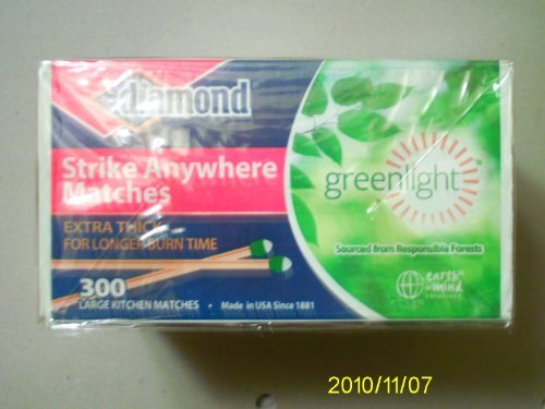 Image of Diamond GreenLightTM Kitchen Matches - 3 Pack - 300 Matches per Pack x 3 = 900 Match (Strike anywhere)