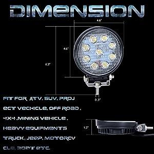 Nilight 2PCS 27W Round Flood LED Light Bar Driving Lamp Waterproof Jeep Off Road Fog Lights for Truck Car ATV SUV Jeep Boat 4WD ATV, 2 Years Warranty