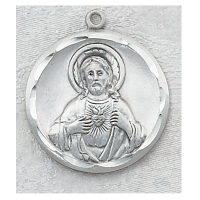 Sterling Silver Scapular Medal Jesus Christ with 24