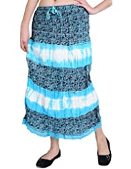 Exotic India Cyan-Blue Midi-Skirt With Printed Paisleys And Lace - Cyan