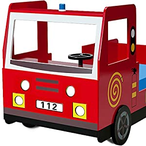 Child car bed frame Fire truck toddler bed kids bedroom furniture 205x103cm