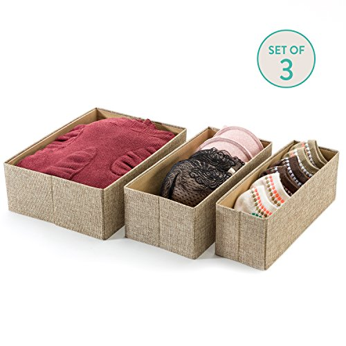 Collapsible Closet Organizer (Sand Dunes) - Set of 3- Decorative Storage Boxes- Mold Proof Storage Bins- Breathable Linen Fabric- Great
