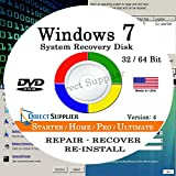 WINDOWS 7 (32 Bit & 64 Bit) DVD SP1, Supports All Versions. Starter, Home Basic, Home Premium, Professional, and Ultimate. Recover, Repair, Restore or Re-install Windows to Factory Fresh!