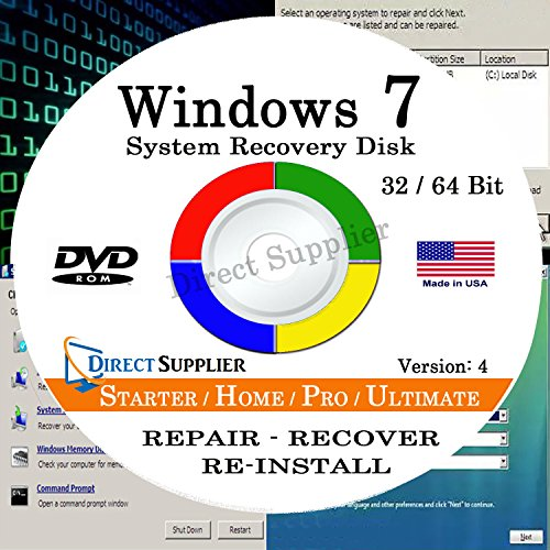 WINDOWS 7 (32 Bit & 64 Bit) DVD SP1, Supports All Versions. Starter, Home Basic, Home Premium, Professional, and Ultimate. Recover, Repair, Restore or Re-install Windows to Factory Fresh! (Windows 7 Repair compare prices)