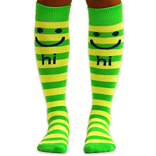 Yakety Yak! Knee High Socks - Hi Bye Smileys (Green/Yellow Stripes)