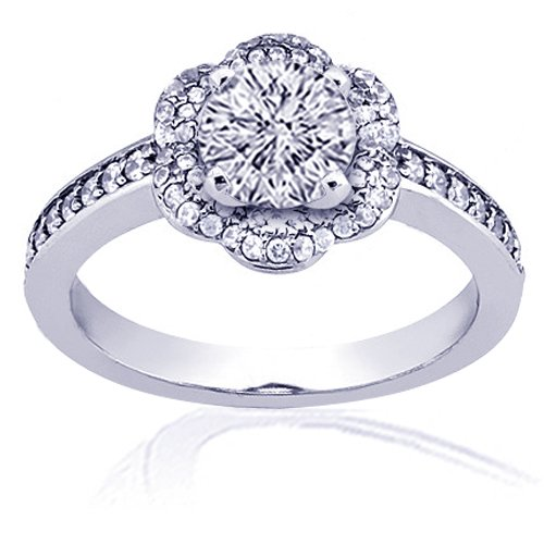 1.35 Ct Round Diamond Engagement Ring Pave 14K