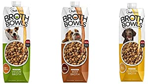 Fruitables Broth Bowls Pet Safe Natural Food Topper (Beef/Chicken/Vegetable Variety, 3 Pack of 33.8oz)