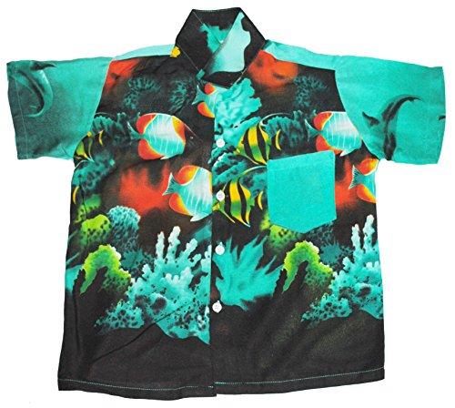 Hawaii Hemd Jungen Tropisch Fisch Jungen Mädchen Kinder - Grün, M EU 110/116