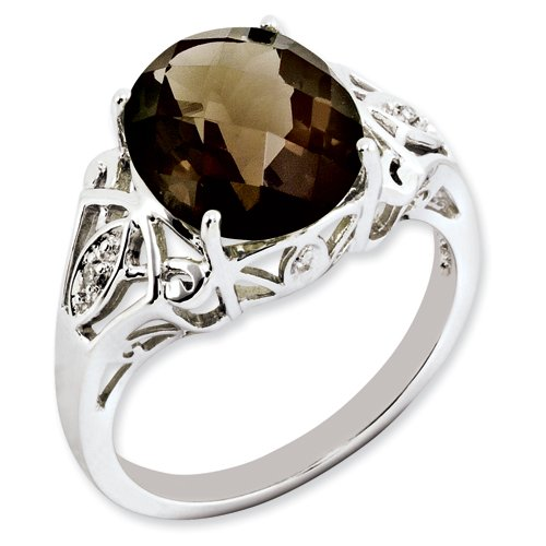 Sterling Silver Oval Smokey Quartz & Diamond Ring