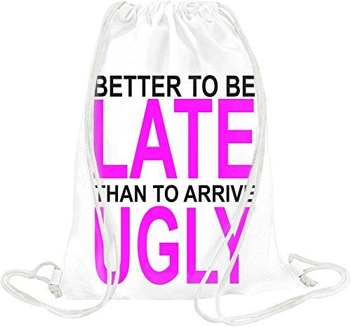 better-to-be-late-slogan-drawstring-bag
