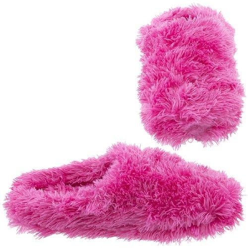 Cheap Hot Pink Fuzzy Clog Slippers for Women (B007XKS0HA)
