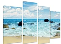 "PICTURE - Multi Split Panel Canvas Artwork Art - Tropical White Sand Beach Waves Rocks Sea Ocean Blue Cloudy Sky -ART Depot OUTLET - 4 Panel - 101cm x 71cm (40""x28"") from Art_Depot_Outlet"