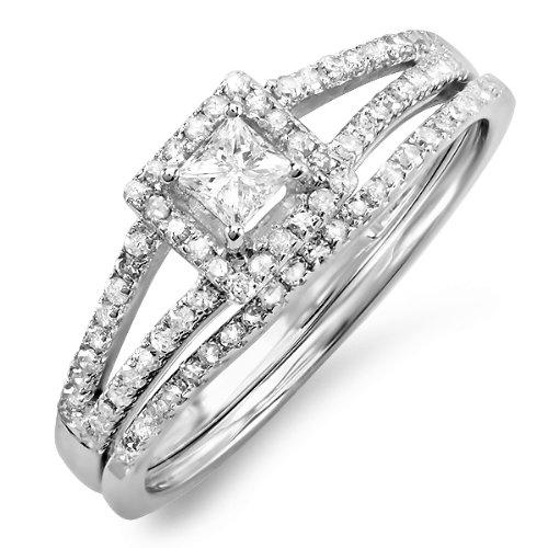 0.60 Carat (ctw) 14k White Gold Princess & Round Diamond Square Split Shank Ladies Bridal Ring Engagement Set