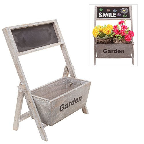 15 Inch Tall Rustic Style Brown Wood Freestanding Plant Flower Planter Box Stand w/ Erasable Chalkboard Sign - MyGift®