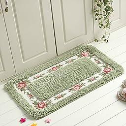 Sytian® 17.71*29.52 Inch Decorative Floral Rural Style Beautiful Rose Flower Shaggy Area Rug Soft Doormat Floor Mat Non Slip Bath Mat Bathroom Shower Rug Carpet (Green)