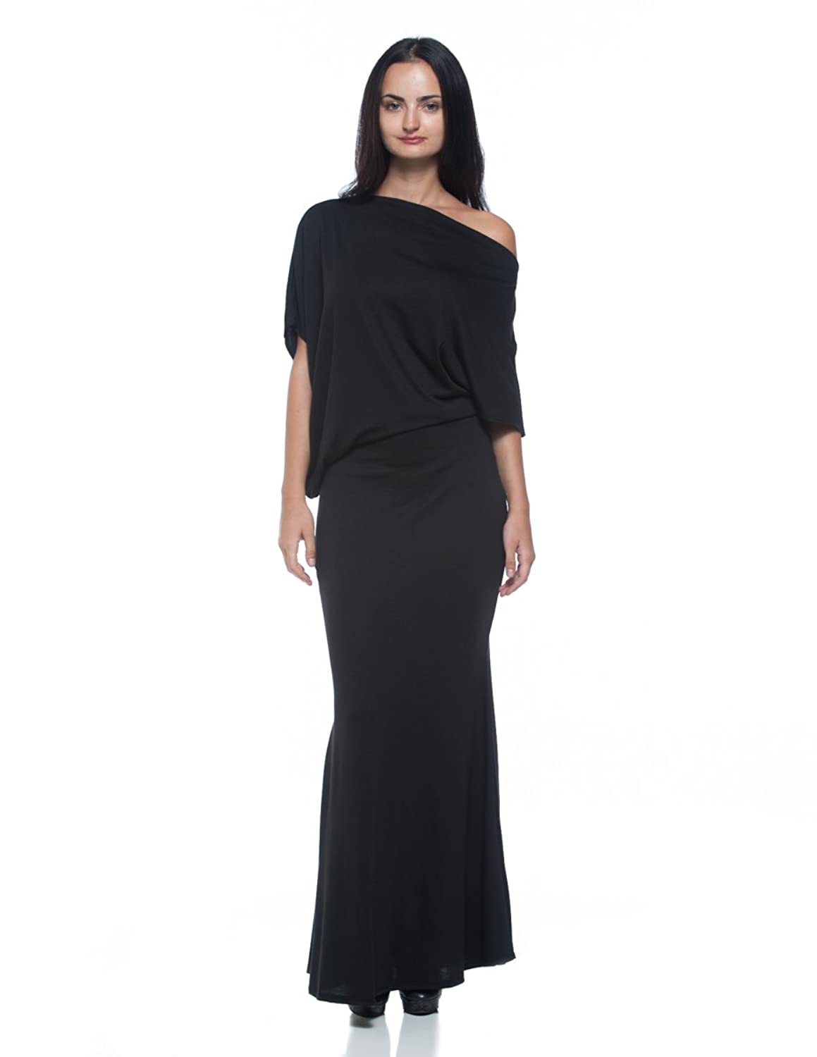 Women's Black Modern Asymmetric Boat Neck Blouson Dolman Sleeve Long Maxi Dress