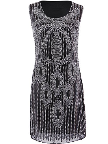 Vikoros Women 20s Sequin Beaded Art Flower Charleston Flapper Cocktail Dress