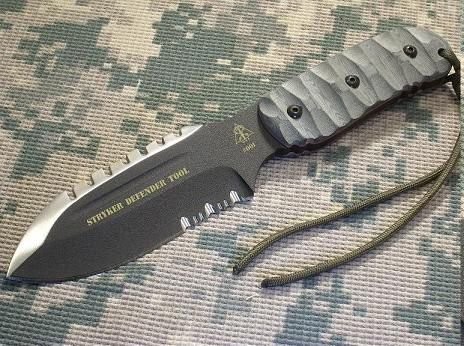 Tops Knives Stryker Defender Tool, Micarta Rmt Handle, Black Combo Blade Tkdeft-01
