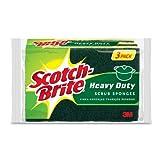 Scotch-Brite MMMHD3 Heavy Duty Scrub Sponge, Yellow & Green, 3 Per Pack
