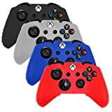 DQDF 4 PCS Pack Soft Silicone Gel Rubber Grip Controller Protecting Cover - Black/Red/Blue/White (Xbox one)