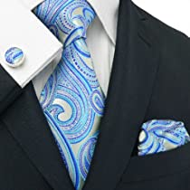 Landisun 66H Blues Paisleys Mens Silk Tie Set: Tie+Hanky+Cufflinks Exclusive