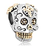 Fit Pandora Charms Skull Cross Silver Plated Dia De Los Muertos Beads