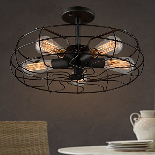 Electro Bp Vintage Style Metal Art Ceiling Light Max 300w With 5 Lights Painted Finish