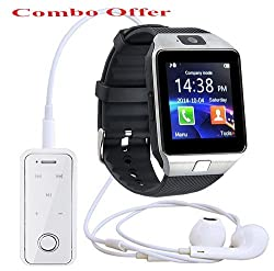 Bluetooth Smart Watch with Sim Card Slot and Camera with free i6S White Bluetooth Headset