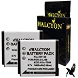Two Halcyon 1400 mAH Lithium Ion Replacement Battery for Pentax Q 12.4 MP and Pentax D-LI68