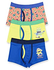3 Pack Cotton Rich Monster Assorted Trunks
