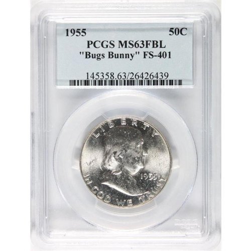 1955 No Mint Mark Franklin Half Dollar PCGS MS63FBL