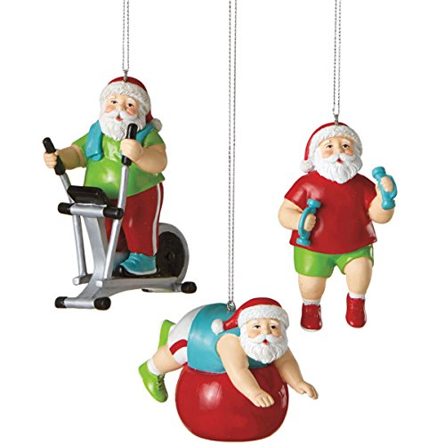 Bicycle Christmas Tree Decorations Ornaments: 3.5″ Santa Shapin' Up Workout With Exercise Bike Fitness